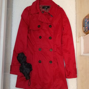 Forever 21 Red Trench Coast Size Medium